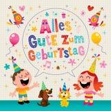 Tarjeta de felicitación alemana del feliz cumpleaños de Geburtstag Deutsch del zum de Alles Gute Fotos de archivo libres de regalías