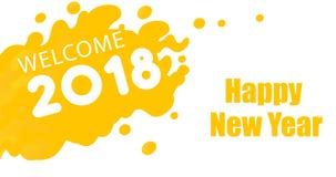 Tarjeta de felicitación amarilla del Año Nuevo del color Imagenes de archivo