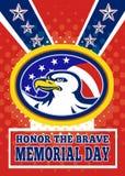 Tarjeta de felicitación americana del cartel del Memorial Day del águila Fotos de archivo