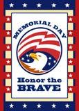 Tarjeta de felicitación americana del cartel del Memorial Day del águila Foto de archivo libre de regalías