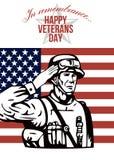 Tarjeta de felicitación americana del día de veteranos ilustración del vector