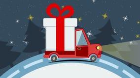 Tarjeta de felicitación animada de la Navidad con la furgoneta de entrega del regalo stock de ilustración