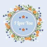 Tarjeta de felicitación azul con las flores anaranjadas Imagen de archivo