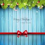 Tarjeta de felicitación azul de la Navidad Foto de archivo libre de regalías