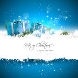 Tarjeta de felicitación azul de la Navidad Fotografía de archivo