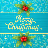 Tarjeta de felicitación azul de la Navidad con las ramas del acebo Ilustración del vector EPS10 Imagenes de archivo