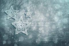 Tarjeta de felicitación azul de plata de la decoración de la Navidad Foto de archivo libre de regalías