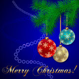 Tarjeta de felicitación azul del día de fiesta de la Navidad del vector Foto de archivo
