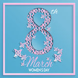Tarjeta de felicitación azul del rosa del día del ` s de las mujeres Fotos de archivo