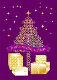 Tarjeta de felicitación bastante colorida de la Navidad escrita en varias idiomas GERMAN1 libre illustration