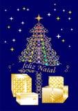 Tarjeta de felicitación bastante colorida de la Navidad escrita en varias idiomas PORTUGUESE1 libre illustration