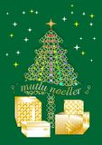Tarjeta de felicitación bastante colorida de la Navidad escrita en varias idiomas TURKISH1 ilustración del vector