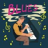 Tarjeta de felicitación brillante Cartel con el músico Juegos del hombre en azules del piano Ilustración del vector libre illustration