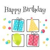 Tarjeta de felicitación brillante del feliz cumpleaños con la actuales caja, sombrero y bola en estilo minimalista Insignia o eti Fotografía de archivo