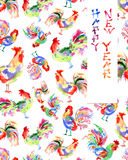 Tarjeta de felicitación brillante dibujada mano de la acuarela con el gallo, ji Imágenes de archivo libres de regalías