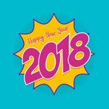 Tarjeta de felicitación cómica del arte pop de la Feliz Año Nuevo 2018 Imagen de archivo libre de regalías