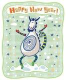 ¡Tarjeta de felicitación, cabra divertida, Feliz Año Nuevo! Imagenes de archivo