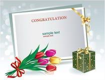 Tarjeta de felicitación, cajas de regalo, ramo de tulipanes, papel de la hoja para los mensajes stock de ilustración
