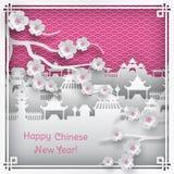 Tarjeta de felicitación china del Año Nuevo Fotografía de archivo libre de regalías