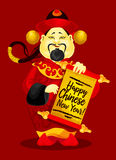 Tarjeta de felicitación china del Año Nuevo con dios de la riqueza