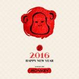 Tarjeta de felicitación china del Año Nuevo con la mano dibujada ilustración del vector