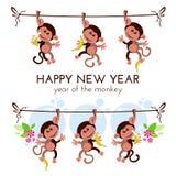 Tarjeta de felicitación china del Año Nuevo con los monos en rama con los plátanos Fotos de archivo libres de regalías