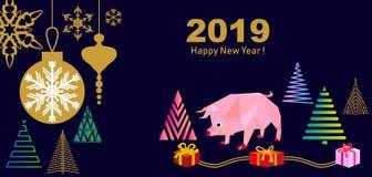 Tarjeta de felicitación china feliz del Año Nuevo libre illustration