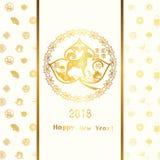 Tarjeta de felicitación china feliz del año del perro Imagen de archivo libre de regalías