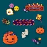 Tarjeta de felicitación colorida de Halloween con la linterna del ` del enchufe o y los elementos lindos de Halloween Imagenes de archivo