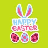 Tarjeta de felicitación colorida de la bandera del día de fiesta de Bunny Painted Eggs Happy Easter de los oídos de conejo Fotos de archivo