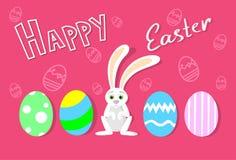Tarjeta de felicitación colorida de la bandera del día de fiesta de Bunny Painted Eggs Happy Easter del conejo Foto de archivo
