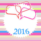 Tarjeta de felicitación colorida de la Feliz Año Nuevo 2016 Diseño del día de fiesta Cartel del partido, tarjeta de felicitación Imagen de archivo libre de regalías