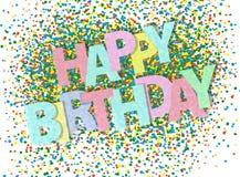 Tarjeta de felicitación colorida del confeti del feliz cumpleaños libre illustration