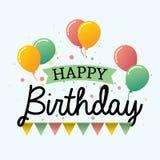 Tarjeta de felicitación colorida del diseño del vector del feliz cumpleaños con las banderas coloridas y el objeto geométrico libre illustration
