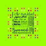 Tarjeta de felicitación colorida de la Navidad escrita en varias idiomas españolas, color verde claro stock de ilustración