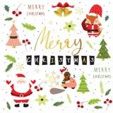 Tarjeta de felicitación colorida ligera de la Navidad con el zorro, Papá Noel, Flor Imagen de archivo