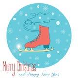 Tarjeta de felicitación común de la Navidad del vector con un patín Imágenes de archivo libres de regalías
