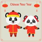 Tarjeta de felicitación con año chino Dos cerdos lindos, un muchacho y una muchacha en trajes rojos tradicionales chinos Marco co ilustración del vector