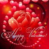 Tarjeta de felicitación con color de rosa y los corazones Imagen de archivo libre de regalías