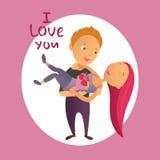 Tarjeta de felicitación con día feliz del ` s de la tarjeta del día de San Valentín Foto de archivo