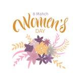 Tarjeta de felicitación con día internacional del ` s de las mujeres Foto de archivo libre de regalías
