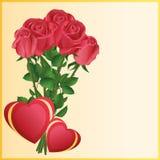 Tarjeta de felicitación con dos corazones y rosas rojas libre illustration