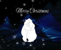 Tarjeta de felicitación con dos osos de abrazo Tarjeta de Navidad del saludo Imágenes de archivo libres de regalías