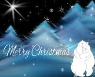 Tarjeta de felicitación con dos osos de abrazo Tarjeta de Navidad del saludo Fotos de archivo libres de regalías