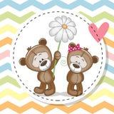 Tarjeta de felicitación con dos Teddy Bears ilustración del vector