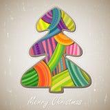 Tarjeta de felicitación con el árbol de navidad Foto de archivo