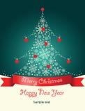Tarjeta de felicitación con el árbol de navidad Foto de archivo libre de regalías