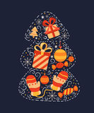 Tarjeta de felicitación con el árbol de navidad Imagen de archivo libre de regalías