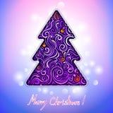Tarjeta de felicitación con el árbol de navidad del cordón Foto de archivo libre de regalías