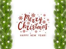 Tarjeta de felicitación con el árbol de navidad stock de ilustración